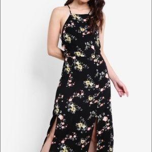 Topshop black floral midi dress